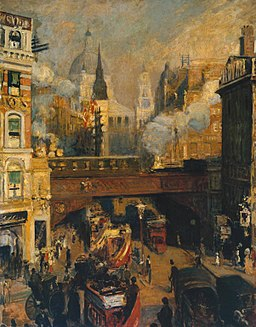 Jacques-Émile Blanche - Ludgate Circus- Entrance to the City (November, Midday) c.1910