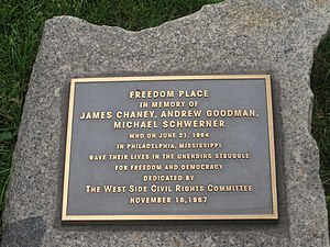 James Chaney - Marker near 70th Street/Freedom Place near Riverside Boulevard in New York City commemorating the three civil rights activists murdered in Mississippi in 1964