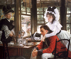 William Menelaus - The Parting (Bad News) (oil on canvas) by French artist James Tissot from 1872, donated by William Menelaus to the Cardiff Free Library, now hanging in the National Museum Cardiff