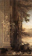 Jagdstillleben vor einer Dianastatue