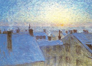 Sunrise over the Rooftops. Motif from Stockholm