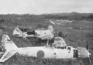Salamaua–Lae campaign - Japanese aircraft destroyed on the ground by Allied planes near Lae.