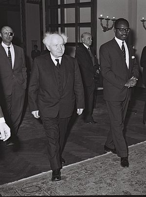 Dawda Jawara - PM Jawara with David Ben-Gurion and General Moshe Dayan during a visit to Israel in 1962.
