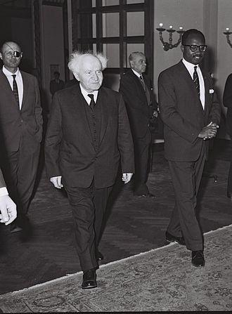 Dawda Jawara - PM Jawara with David Ben-Gurion and General Moshe Dayan during a visit to Israel in 1962.