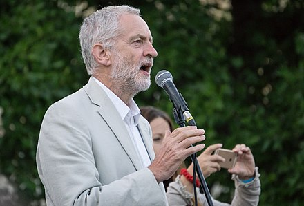 Jeremy Corbyn, Leader of the Labour Party, who won the Labour Party leadership on a campaign of a rejection opposed to austerity and a rejection of Third Way Blairite politics within the Labour Party itself Jeremy Corbyn leadership election rally August 2016.jpg