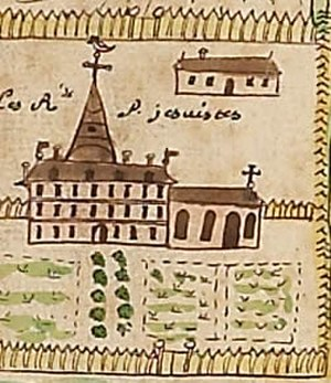 Dumont de Montigny - Dumont's drawing of the Jesuit Convent in New Orleans