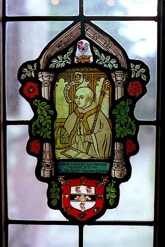 John Alcock (bishop) - Stained glass depicting John Alcock, in Jesus College, Cambridge
