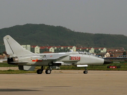JH-7A of the People's Liberation Army Air Force seen at Yantai Laishan International Airport