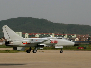 Laishan District - JH-7A of the People's Liberation Army Air Force seen at Yantai Laishan International Airport