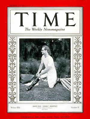 Easter Hero - Jock Whitney, Easter Hero's fifth and final owner on the cover of Time (27 March 1933)