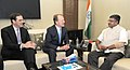 John Chambers and the CEO Designate of CISCO Systems Inc., Mr. Charles Robbins meeting the Union Minister for Communications & Information Technology, Shri Ravi Shankar Prasad, in New Delhi on June 18, 2015.jpg