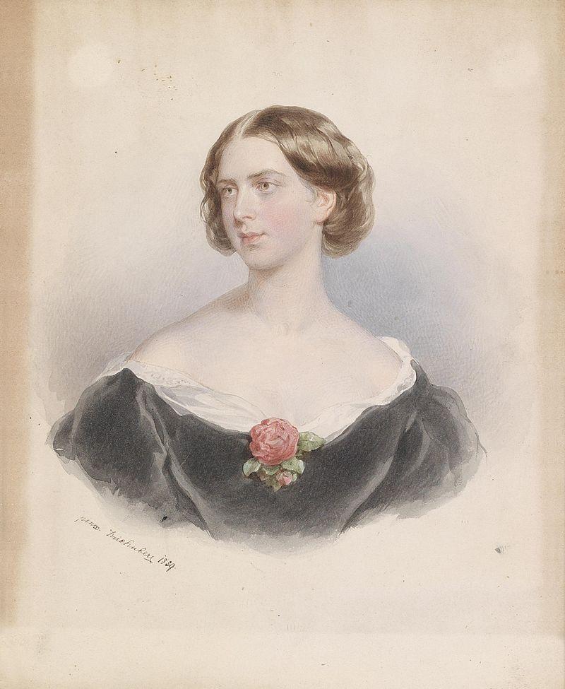Josef Kriehuber Bildnis einer jungen Frau mit Rose 1859.jpg