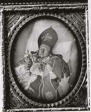 Joseph Crétin - Bishop Joseph Cretin, first Roman Catholic Bishop of the diocese of St. Paul, in casket.