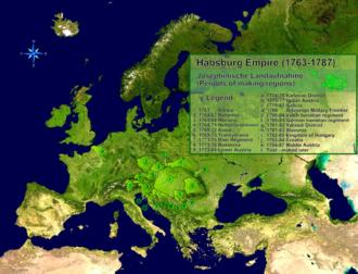 Josephinian Land Survey - Distribution and time periods of the Josephinian Land Survey
