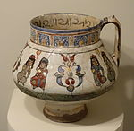 Jug with seated figures, Mina'i ware,Central Iran, Seljuk period, late 12th or early 13th century AD, earthenware with polychrome enamels and gold over a white glaze and colors - Cincinnati Art Museum - DSC04001.JPG