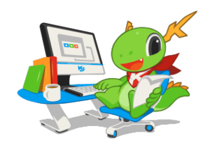 Calligra Suite - KDE mascot Konqi and Calligra Suite.