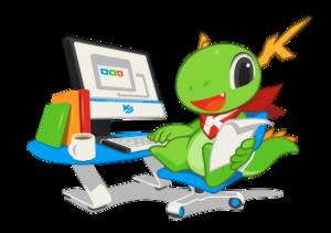 Calligra Suite - KDE mascot Konqi and Calligra Suite.