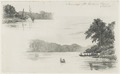 KITLV - 36C196 - Borret, Arnoldus - Saramacca river, Surinam sailing ship and canoe. Plantation Catharina Sophia - Pencil - 1878-09-09.tif