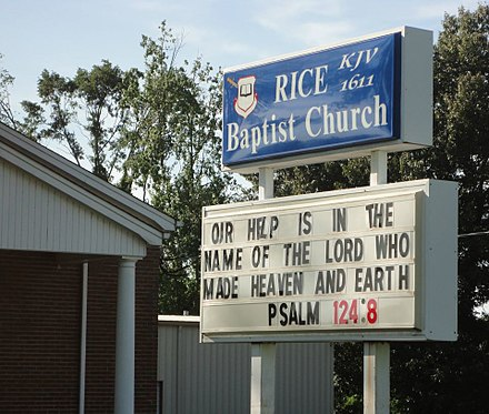 Church sign indicating that the congregation uses the Authorized King James Version of 1611 KJV 1611 Rice Baptist Church New Market Alabama 2012-06-13.jpg