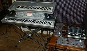 Korg Triton - KORG M3, KORG Triton, 2 KORG Radias-R and Mackie 1402 VLZ3, with MIDI Merge and Thru boxes sitting on the M3 (left and right respectively)