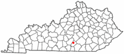 Location of Russell Springs, Kentucky