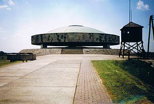 Majdanek State Museum - Overview of the Majdanek Memorial containing the mound of ashes of camp victims