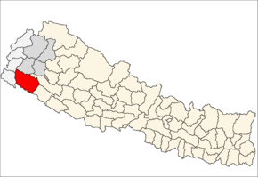 Kailali District i Seti Zone (grå) i Far-Western Development Region (grå + lysegrå)