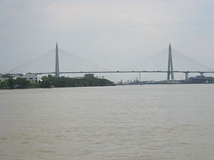 Kanchanaphisek Bridge - View from the Chao Phraya River