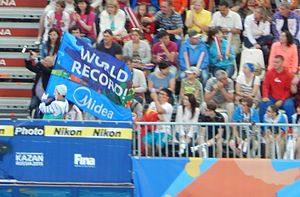2015 World Aquatics Championships - Common view and spectators during world's record at the Kazan Arena