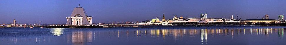 A panoramic view of Kazan Kremlin, Vernicle temple and Kazanka river right bank