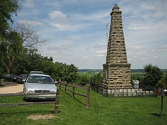 Battle of Kellogg's Grove - Monument and graves located in a park near Kent, Illinois.