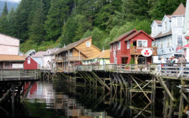 Looking down Creek Street in Ketchikan, Alaska.  Salmon travel up the creek during spawning season to lay their eggs.