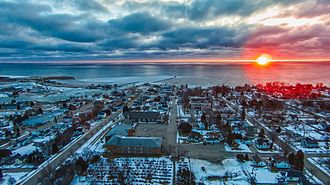 Kewaunee, Wisconsin - Looking east to the Kewaunee harbor and Lake Michigan