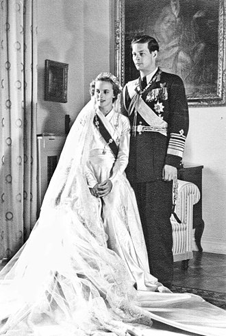 Michael I of Romania - Former king Michael I and Princess Anne of Bourbon-Parma at their wedding, 1948.