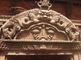 Kirtimukha - Kirtimukha above a Hindu temple entrance in Kathmandu, Nepal