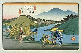 Mikuni Kaidō - Hiroshige's print of Takasaki-shuku, part of The Sixty-nine Stations of the Kiso Kaidō series