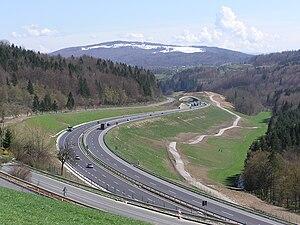 European route E70 - E 70 (national motorway A 1) Medvedjek slope in Slovenia.