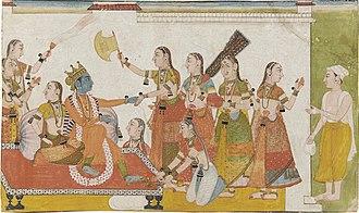 Sudama - Krishna welcomes Sudama, Bhagavata Purana, 17th-century manuscript.