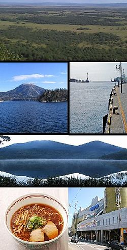 Top:Kushiro Wetland Park, 2nd left:Lake Akan, 2nd right Port of Kushiro, 3rd: Mount Akan-Fuji, Bottom left:Kushiro Ramen, Bottom right:Kushiro Fisherman's Wharf Woo