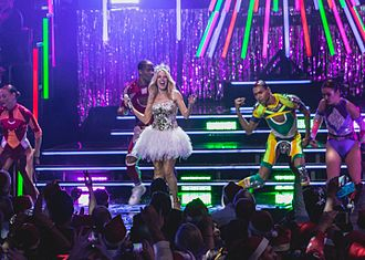 "All the Lovers - Minogue and her dancers perform ""All the Lovers"" during one of the singer's Kylie Christmas concerts in 2015."