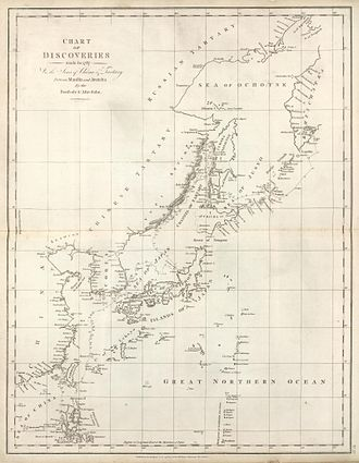 "Sakhalin - La Perouse charted most of the southwestern coast of Sakhalin (or ""Tchoka"", as he heard natives call it) in 1787"