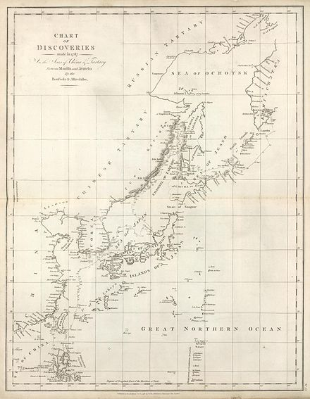 "La Perouse charted most of the southwestern coast of Sakhalin (or ""Tchoka"", as he heard natives call it) in 1787 La-Perouse-Chart-of-Discoveries.jpg"