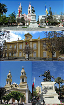 Buildings sorrounding Los Héroes Square, Rancagua. Top: Southern view of the plaza, Middle: Cachapoal Province Governorate, Bottom left. Sagrario Cathedral, Bottom right: Bernardo O'Higgins monument.