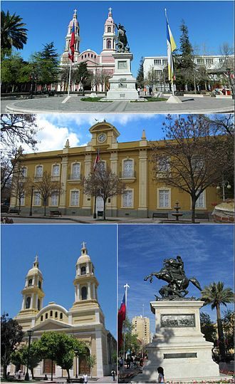 Rancagua - Buildings sorrounding Los Héroes Square, Rancagua. Top: Southern view of the plaza, Middle: Cachapoal Province Governorate, Bottom left. Sagrario Cathedral, Bottom right: Bernardo O'Higgins monument.