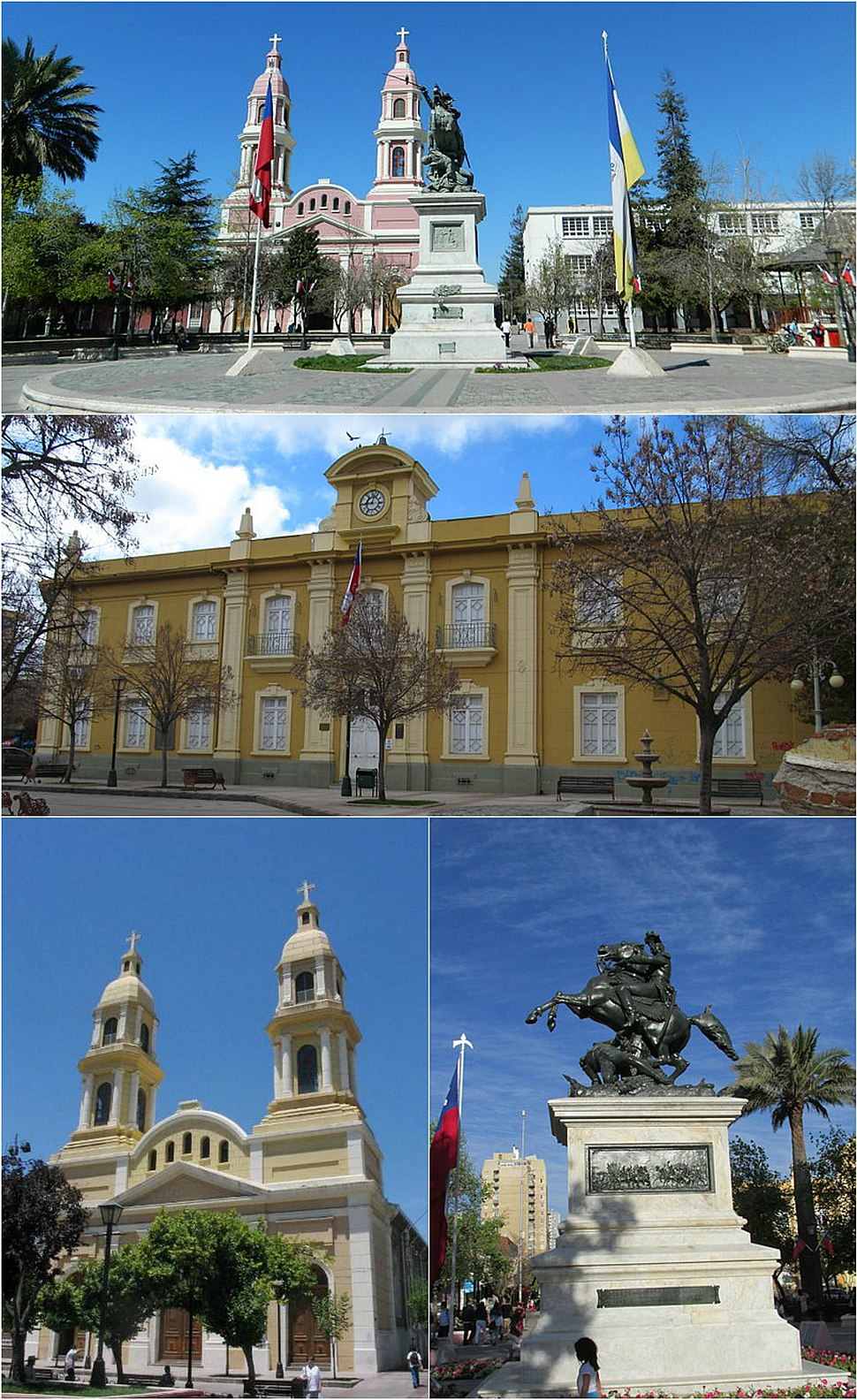 Buildings surrounding Los Héroes Square, Rancagua. Top: Southern view of the plaza, Middle: Cachapoal Province Governorate, Bottom left. Sagrario Cathedral, Bottom right: Bernardo O'Higgins monument.