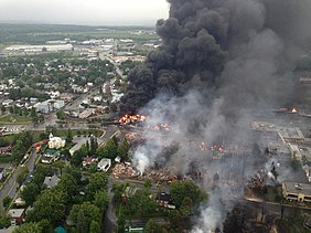 Police helicopter view of Lac-Mégantic, the day of the derailment