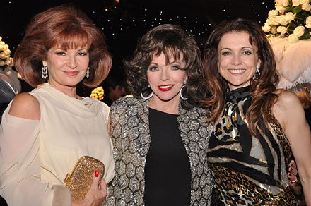 Joan Collins with Dynasty co-stars Stephanie Beacham and Emma Samms in London, 2009 Ladies of Dynasty.jpg