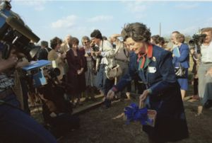 Lady Bird Johnson Wildflower Center - Lady Bird Johnson spreads seeds at the groundbreaking of the National Wildflower Research Center