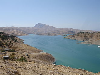 Little Zab - View of Lake Dukan, a reservoir on the Little Zab created by the Dukan Dam in Iraqi Kurdistan