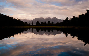 Lake Matheson - Lake Matheson just after the sunset